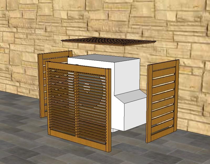 realisation un cache pour moteur ext de clim. Black Bedroom Furniture Sets. Home Design Ideas